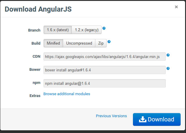 Версия AngularJS