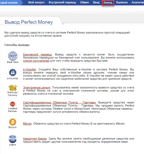 Вывод денег Perfect Money