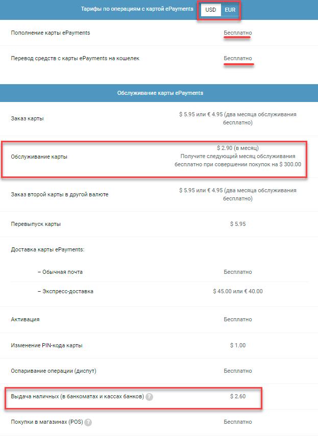 тарифы карта ePayments MasterCard