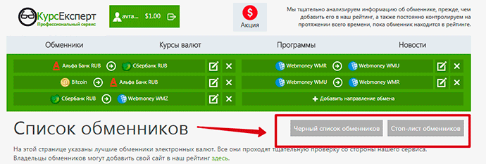 черный список обменников КурсЭксперт
