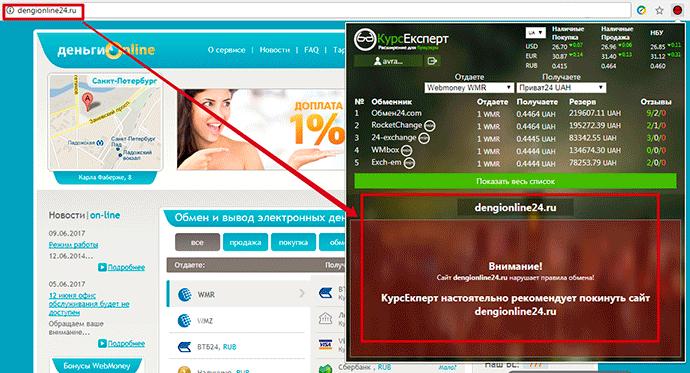 расширение КурсЭксперт защита от мошенических сайтов-обменников
