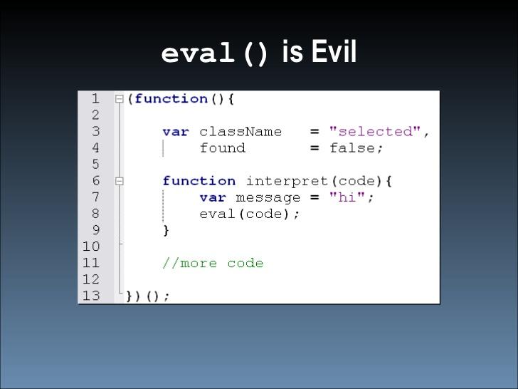 Метод eval выполнение кода JS